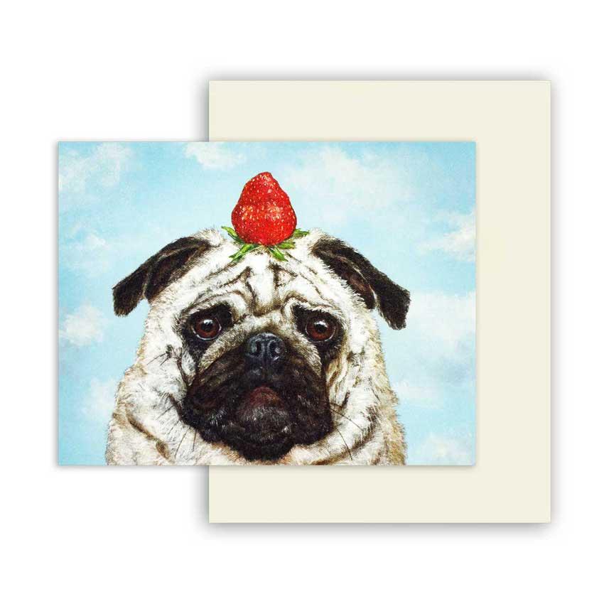 """Grußkarte """"STRAWBERRY PUG"""" von Hester & Cook"""