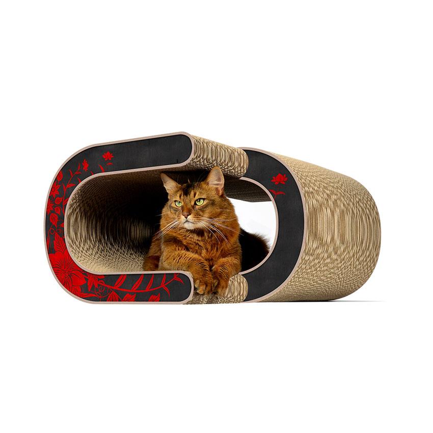 La Vague XL - Farbwelt rote Asiablumen - Kratzmöbel für Katzen