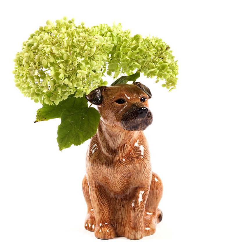 "Quail Ceramics - die große Blumenvase ""Border Terrier"""