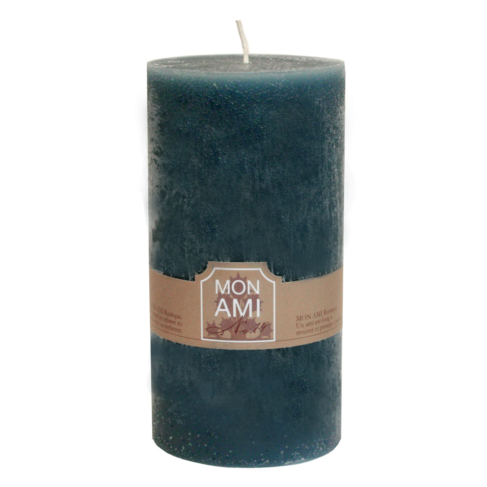 Engels Stumpenkerze MON AMI RUSTIQUE -  Granitblau