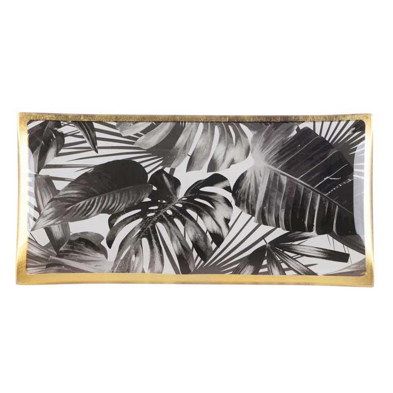 "Love Plates - Glasteller ""Black leaves"" von Gift Company"