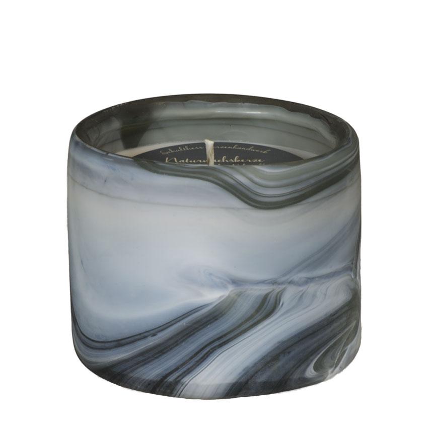 Marble Zylinder blau - Aromatic Relax - von Schulthess Kerzen