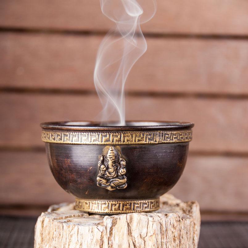 Ganesha Räuchschale aus Kupfer