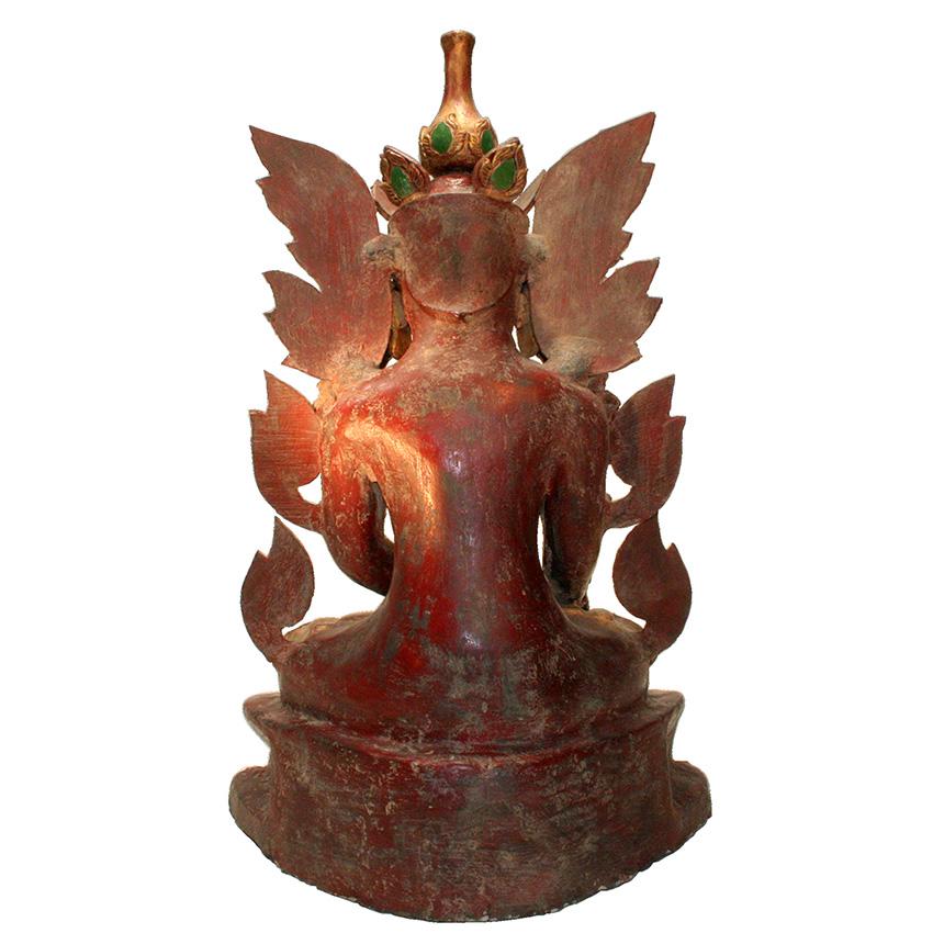 Eine Rarität - alter burmesischer Königsbuddha aus roter  Lacquerware mit buntem Glasmosaik