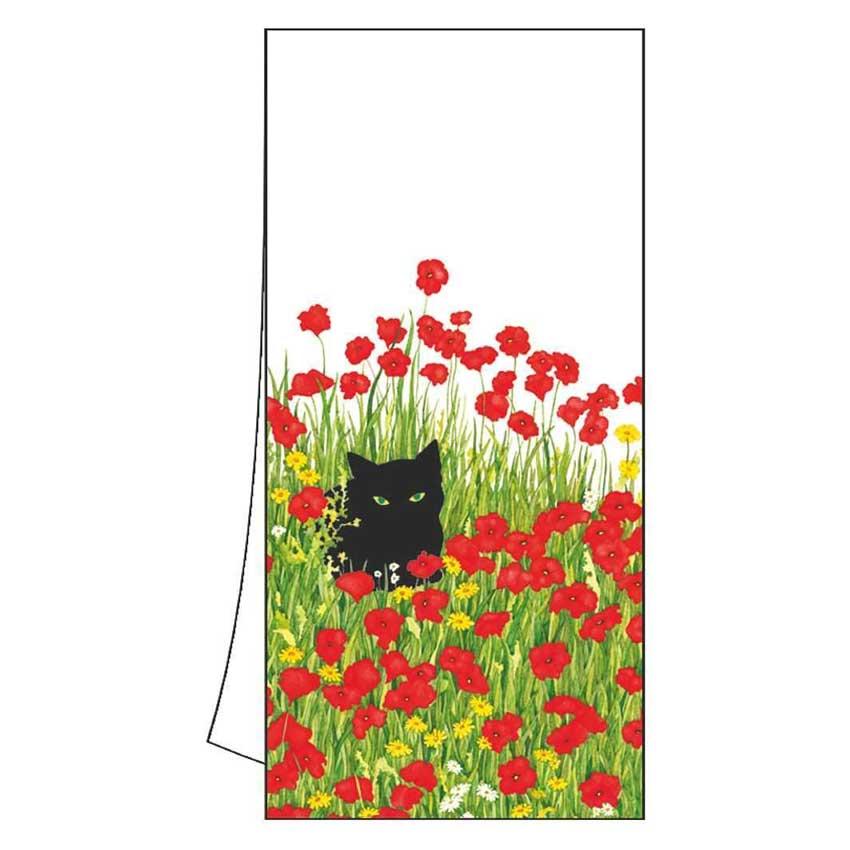 """Geschirrtuch """"Black Cat Poppies"""" von Paperproducts Design"""