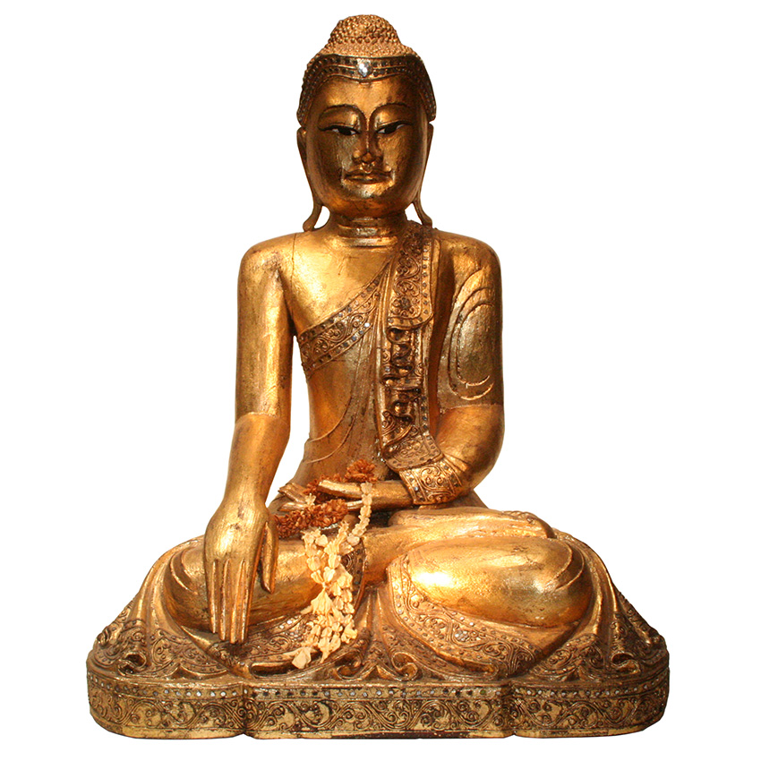 Großer sitzender Holzbuddha im Mandalay Stil