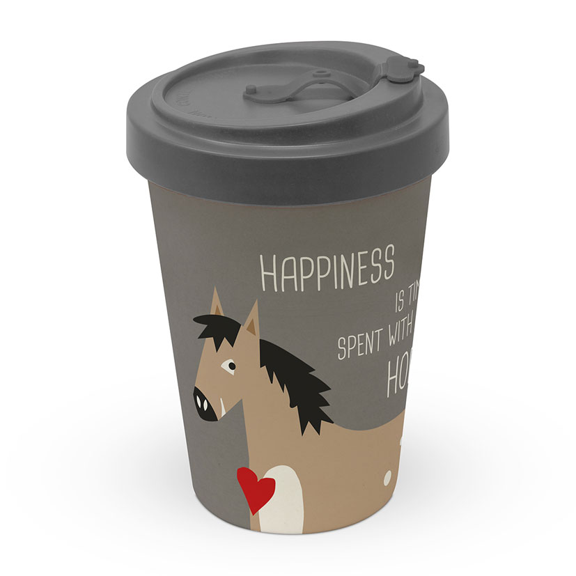 Happiness & Horses - Travel Mug Bamboo