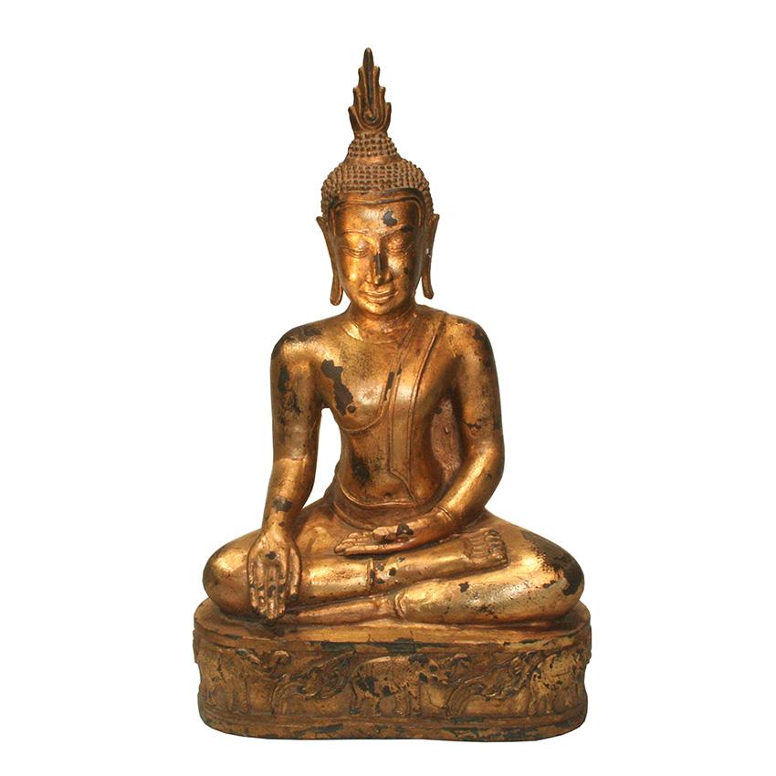 Siddharta Gautama Buddha Figur aus Bronze auf dem Elefantenthron