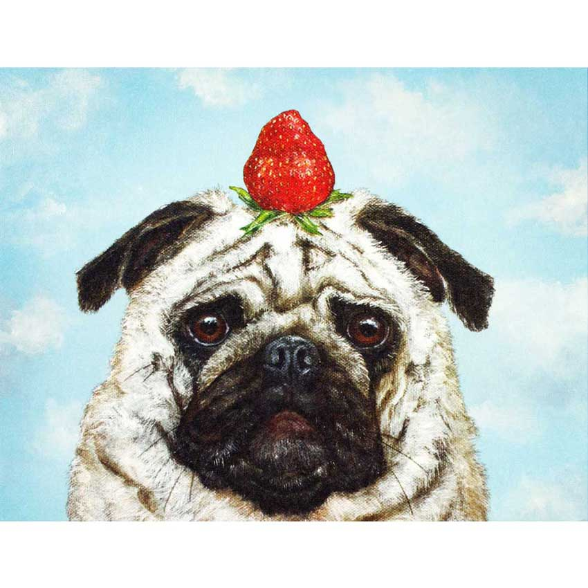 "Grußkarte ""STRAWBERRY PUG"" von Hester & Cook"