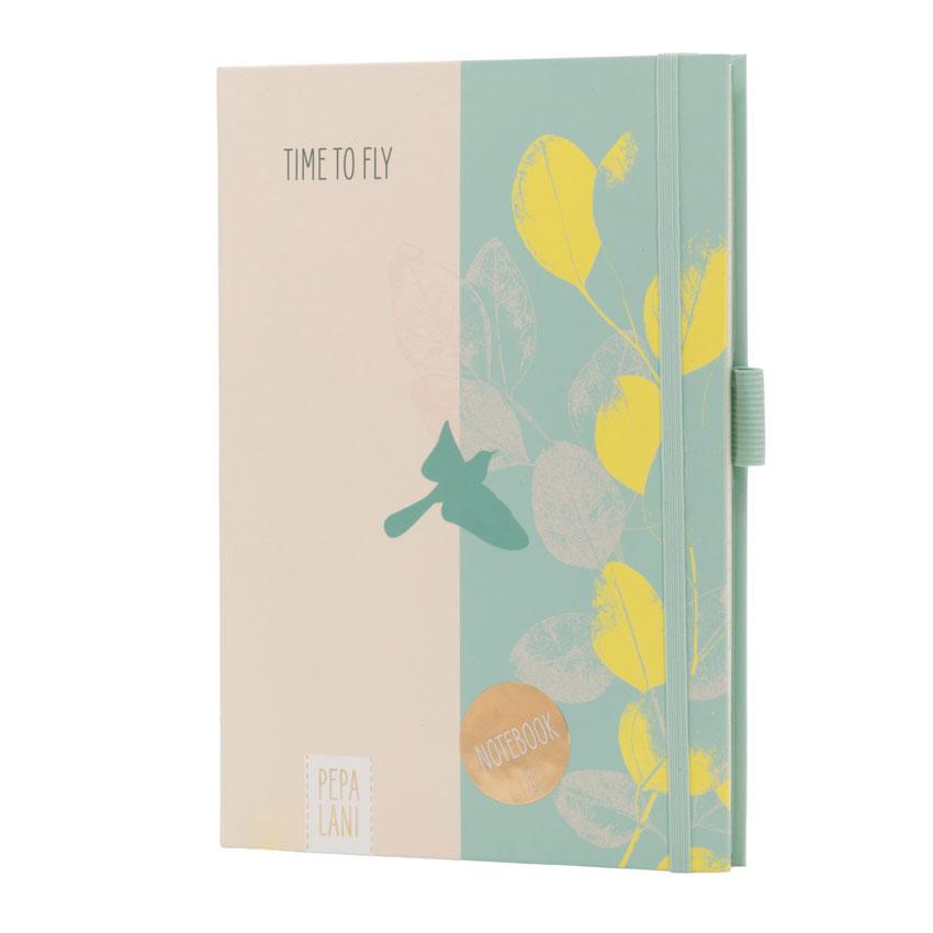 "Notizbuch / Notebook ""Time to fly - Vogel grün"", Format DIN A5 von Pepa Lani®"