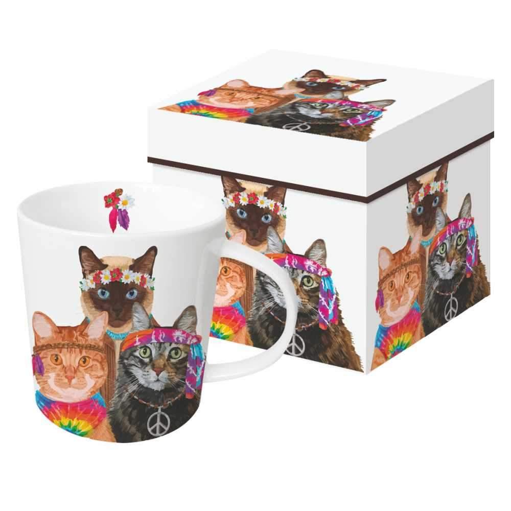 """Groovy Cats"" / Trend Mug, große Porzellantasse"