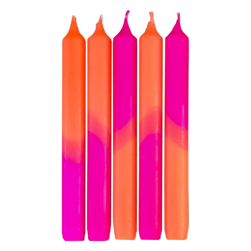 Engels Stabkerzen Set Neon / Farbe: Pink - Orange
