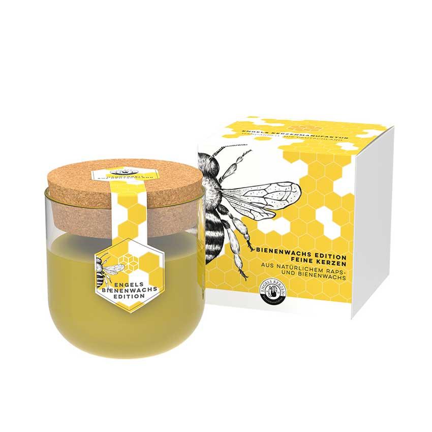Engels Bienenwachskerze im Glas - natur