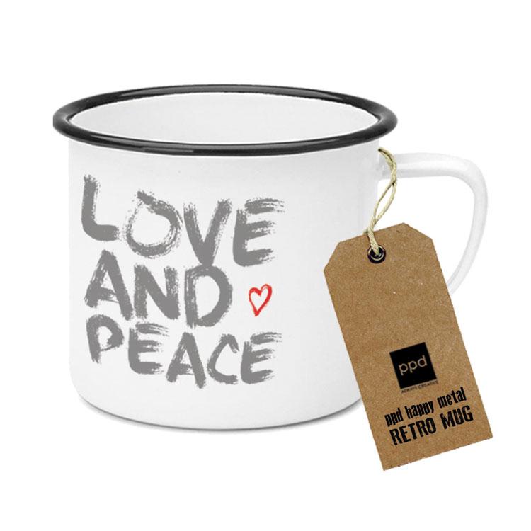 "Happy Metal Mug ""Love & Peace"""