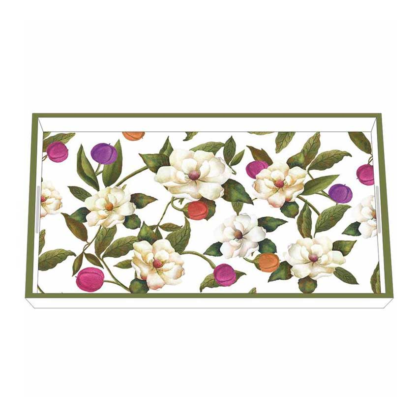 """Southern Magnolias"" / Wooden Lacquer Tray - Tablett von PPD"