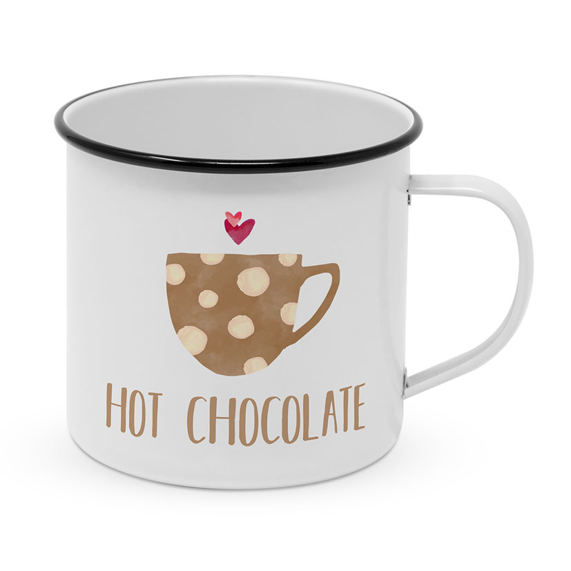 "Happy Metal Mug ""Hot Chocolate"""