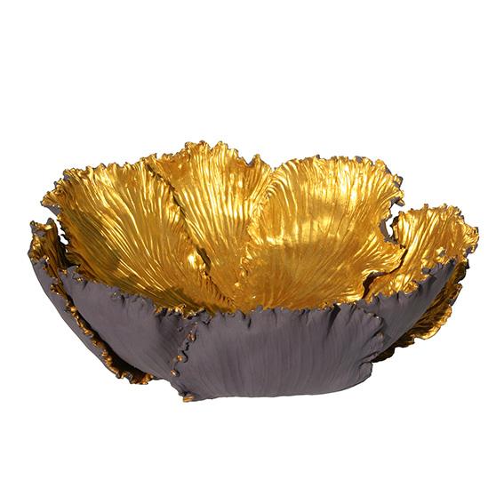 Tulpenschale aus Keramik - Farbe lila - gold