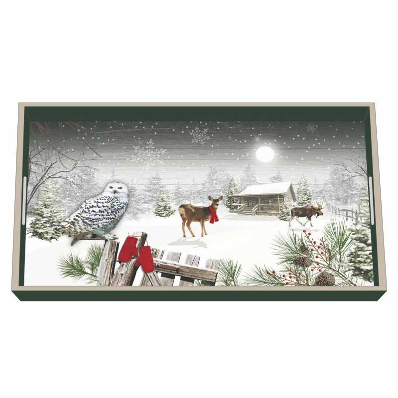"""""""Wintry Homestead"""" / Wooden Lacquer Tray - Tablett von PPD"""