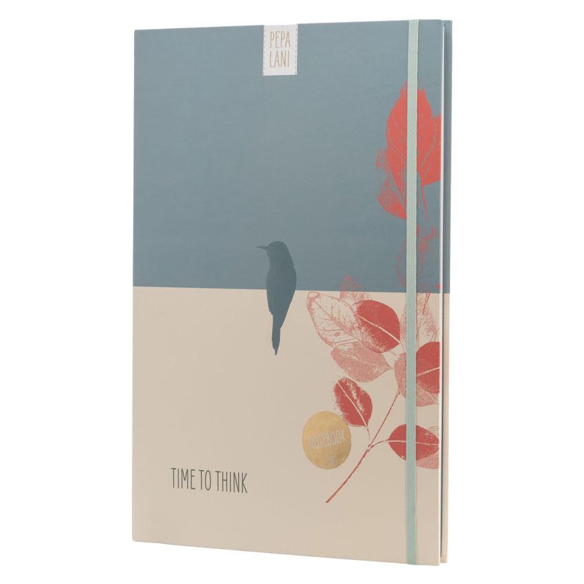 """Notizbuch / Notebook """"Time to think - Vogel blau"""", Format DIN A4 von Pepa Lani®"""