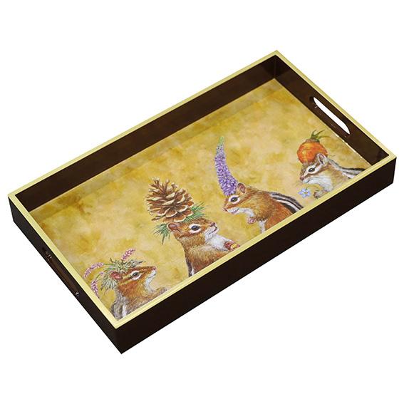 """Chipmunk Social"" Wooden Lacquer Tray  - Tablett von PPD"