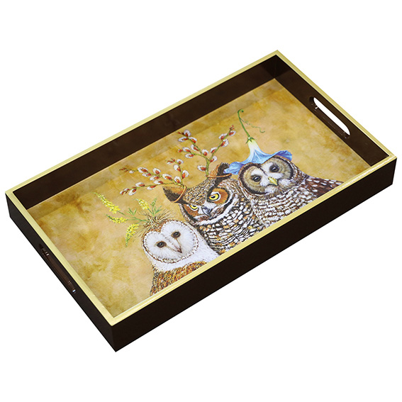 """""""Owl Family"""" Wooden Lacquer Tray - Tablett von PPD"""