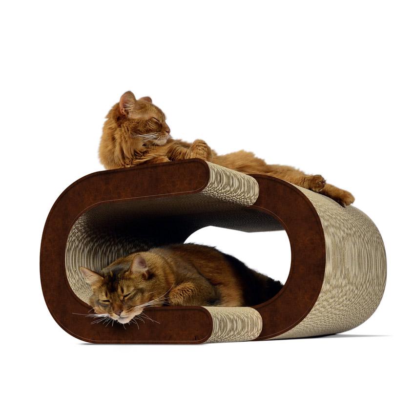 La Vague XL - Farbwelt dunkelbraun - Kratzmöbel für Katzen