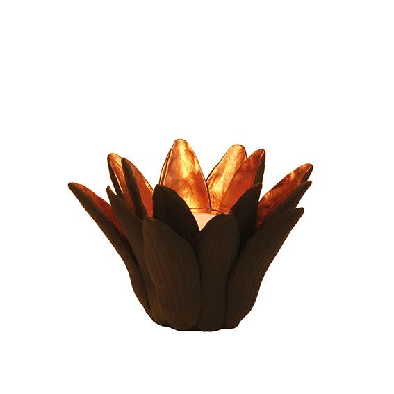 """Teelichthalter /  Kerzenständer """"Wasserlilie"""" schwarz - kupfer"""