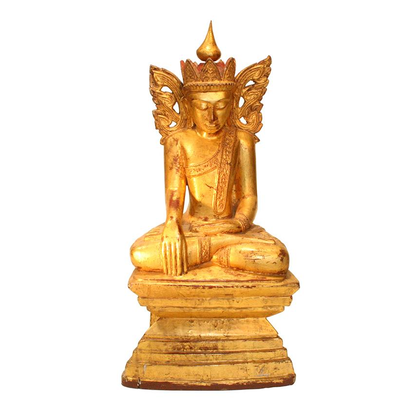 Sitzender Königsbuddha aus Teakholz - Eine besondere Rarität aus Burma