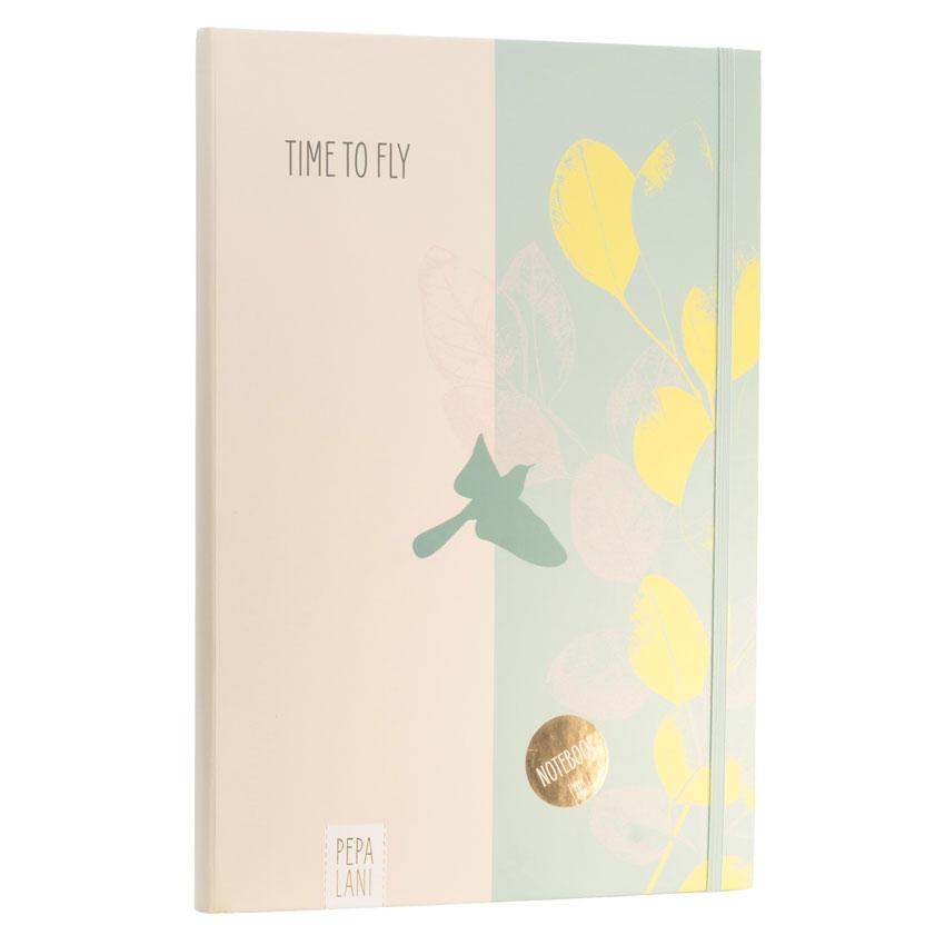 "Notizbuch / Notebook ""Time to fly - Vogel grün"", Format DIN A4 von Pepa Lani®"
