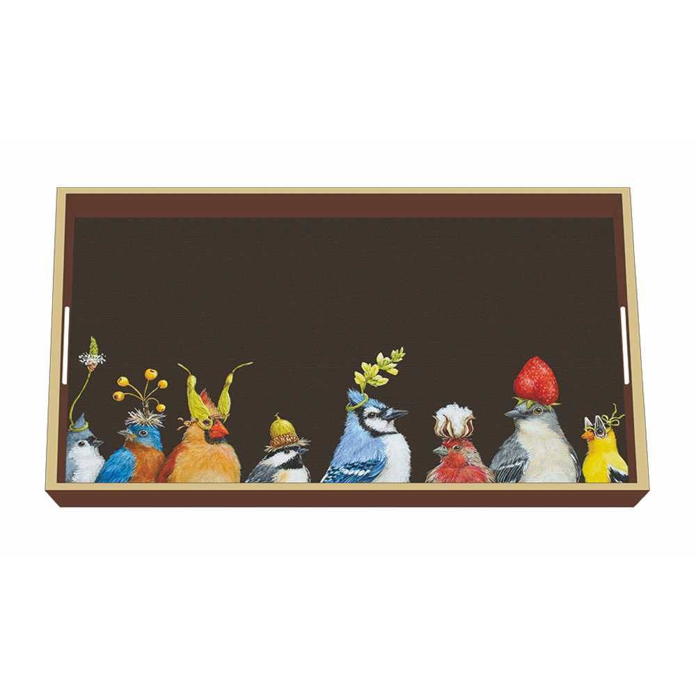 "Wooden Lacquer Tray ""Jay's Party"" - Tablett von PPD"