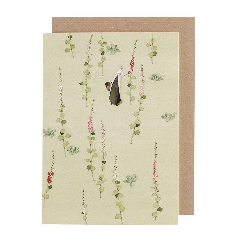 """Grußkarte """"HOLLYHOCKS"""" von Laura Stoddart"""