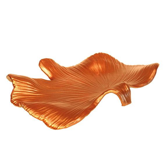 """Blattschale """"Ginko"""" aus Keramik - Farbe cremeweiss / kupfer"""