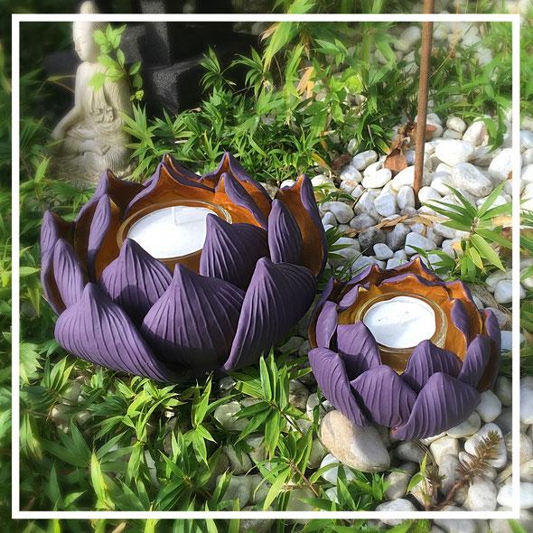 """Teelichthalter /  Kerzenständer """"Lotosblüte"""" Flieder - Gold"""