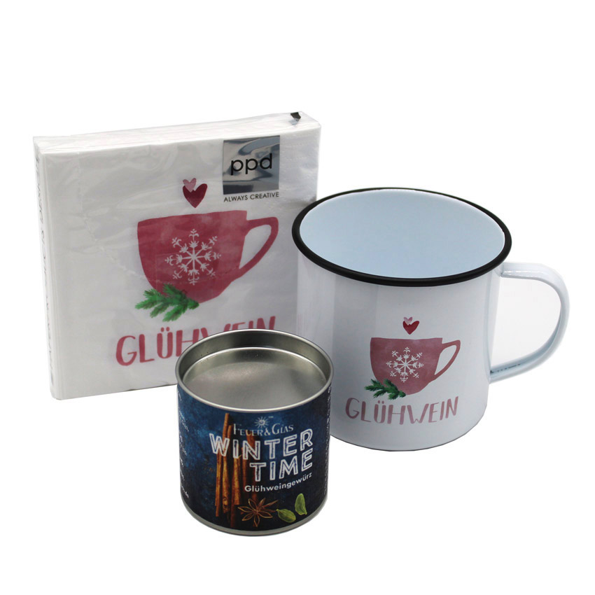 "Advents Special ""Glühwein"" -  Happy Metal Mug, Glühweingewürz & Servietten"