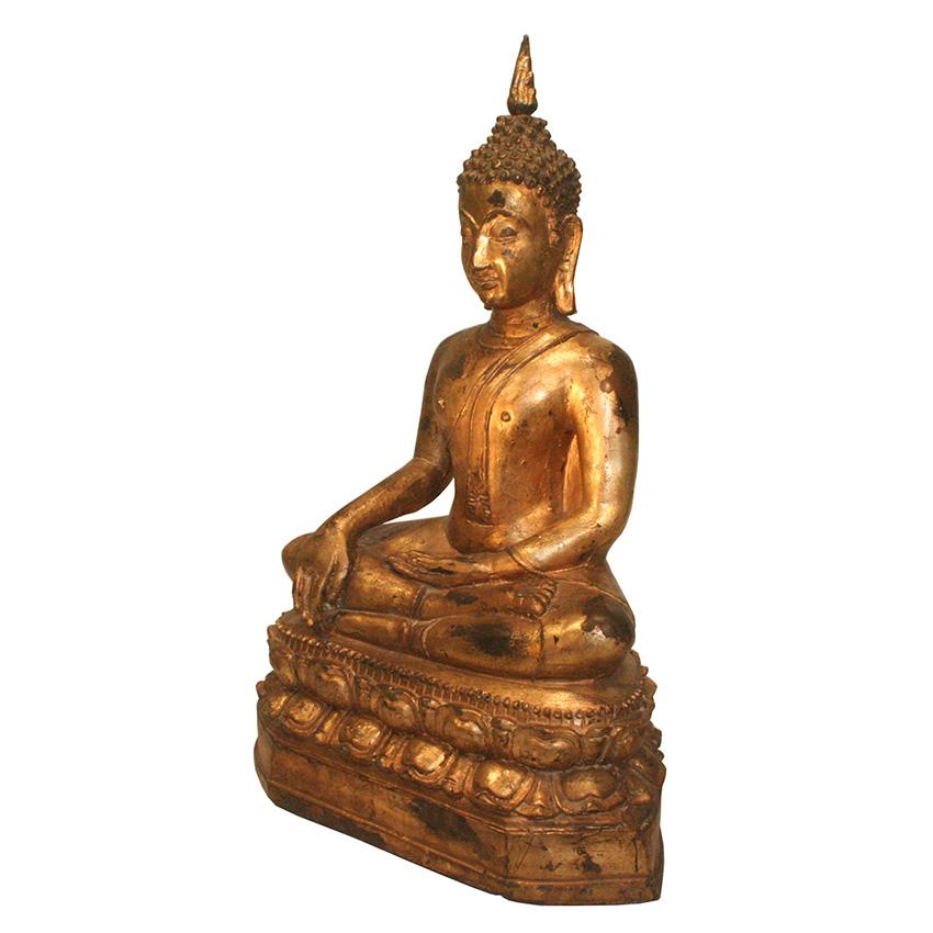 Siddharta Gautama Buddha Figur aus Bronze auf dem Lotosblumenthron