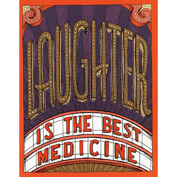 "Wunschkarte ""LAUGHTER IS THE BEST MEDICINE"" von Hester & Cook"