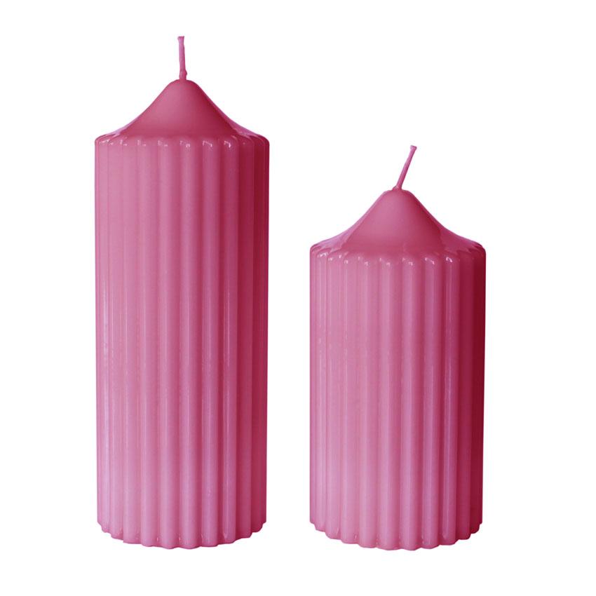 Farbe Pink / Engels Klassik Rillenkerze gelackt