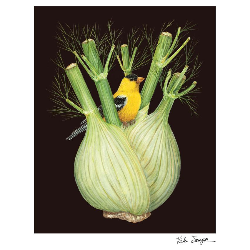 """""""FENNEL FINCH""""- Art Print von Vicki Sawyer - liebenswerte und skurrile Kunst von Hester & Cook"""