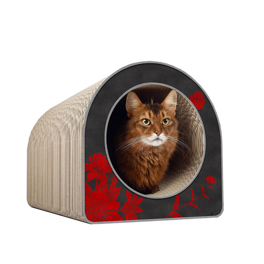 Le Tube L - Farbwelt Asia rote Blumen - Kratzmöbel für Katzen