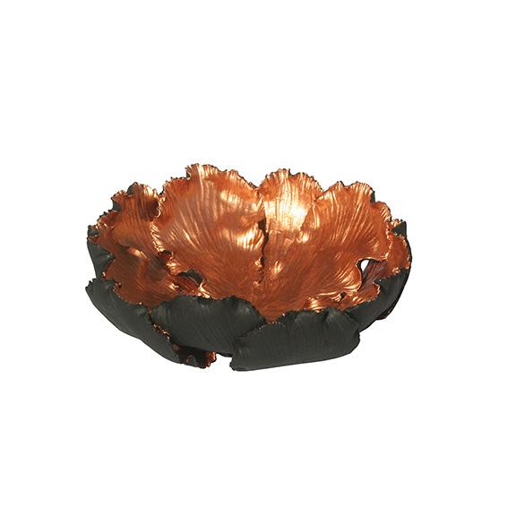 Tulpenschale aus Keramik - Farbe schwarz kupfer