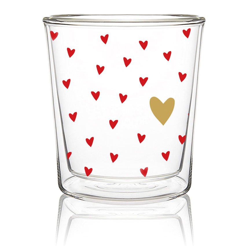 Little Hearts real Gold - Double wall Trend Glas von PPD