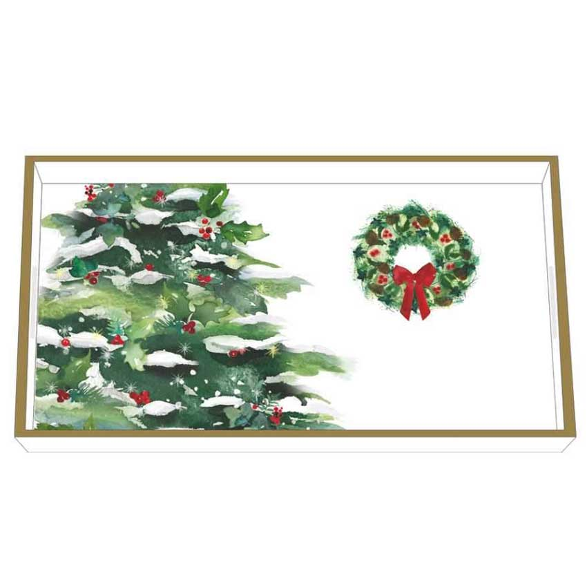 """""""Winter Tree & Wreath"""" / Wooden Lacquer Tray - Tablett von PPD"""