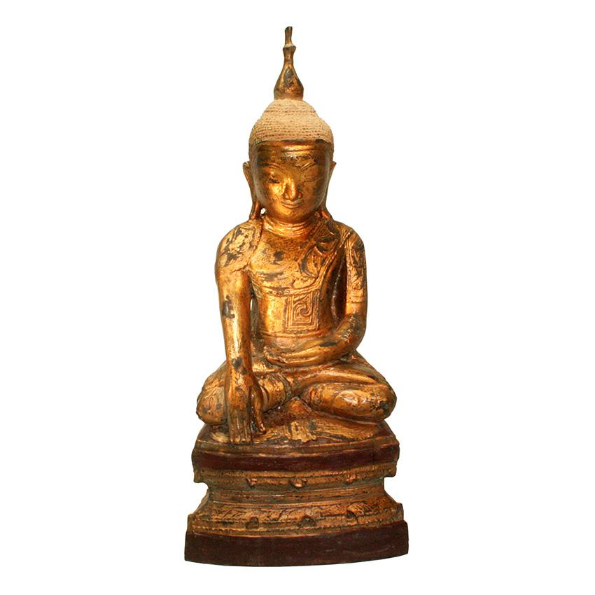 Shan Buddha aus Bronze auf einem Lotosblumenthron