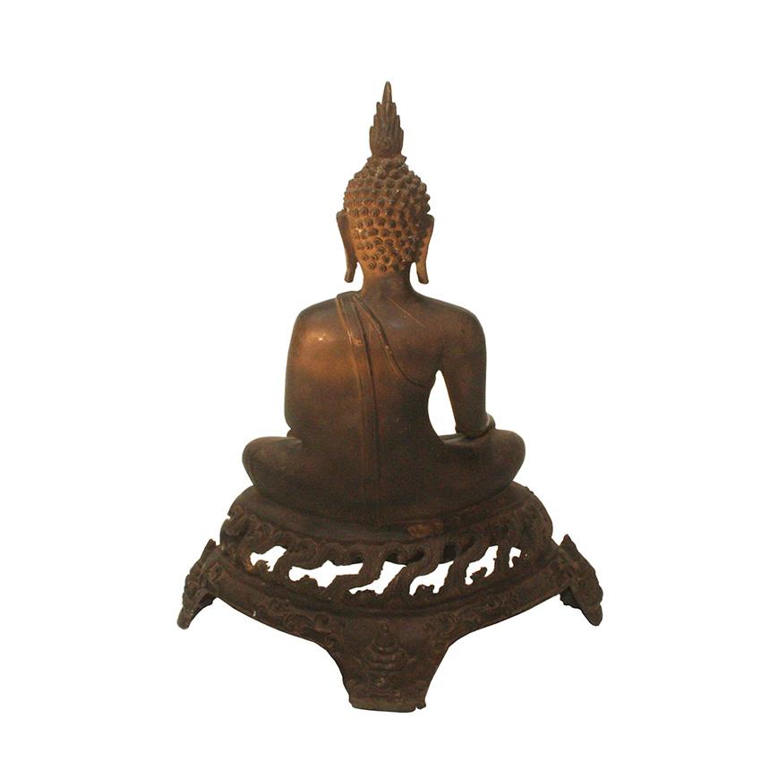 Siddharta Gautama Buddha Figur aus Bronze auf dem Flammenthron