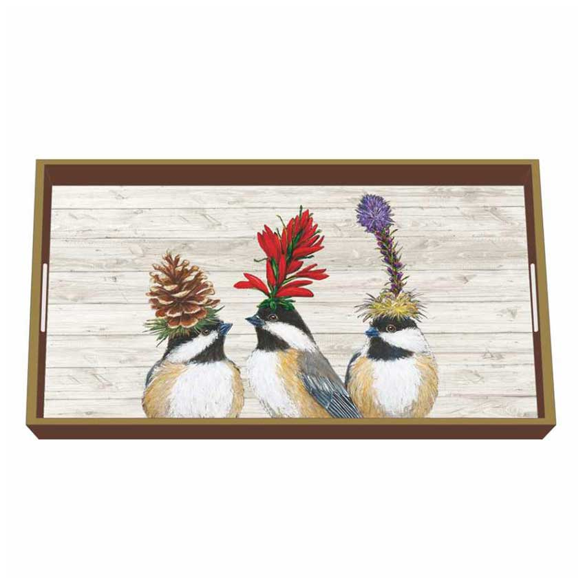 """""""The Chickadee Sisters"""" / Wooden Lacquer Tray - Tablett von PPD"""