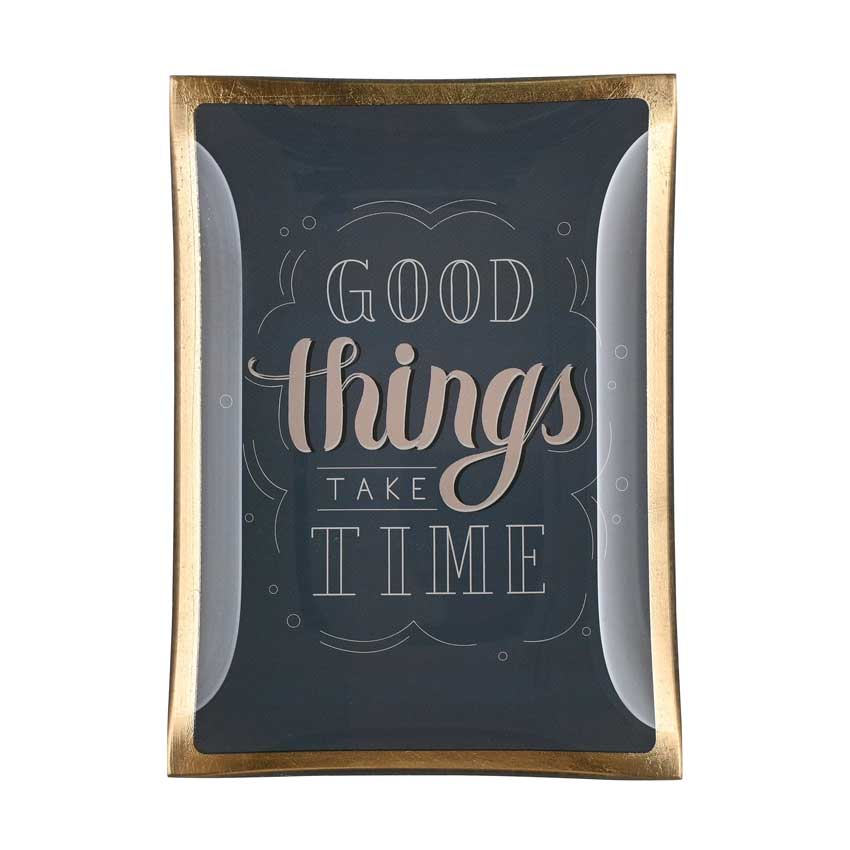 "Love Plates - Glasteller ""Good things take time"" von Gift Company"