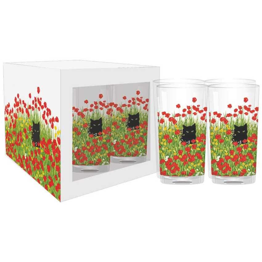 """""""Black Cat Poppies"""" - Trinkglas Set von Paperproducts Design"""