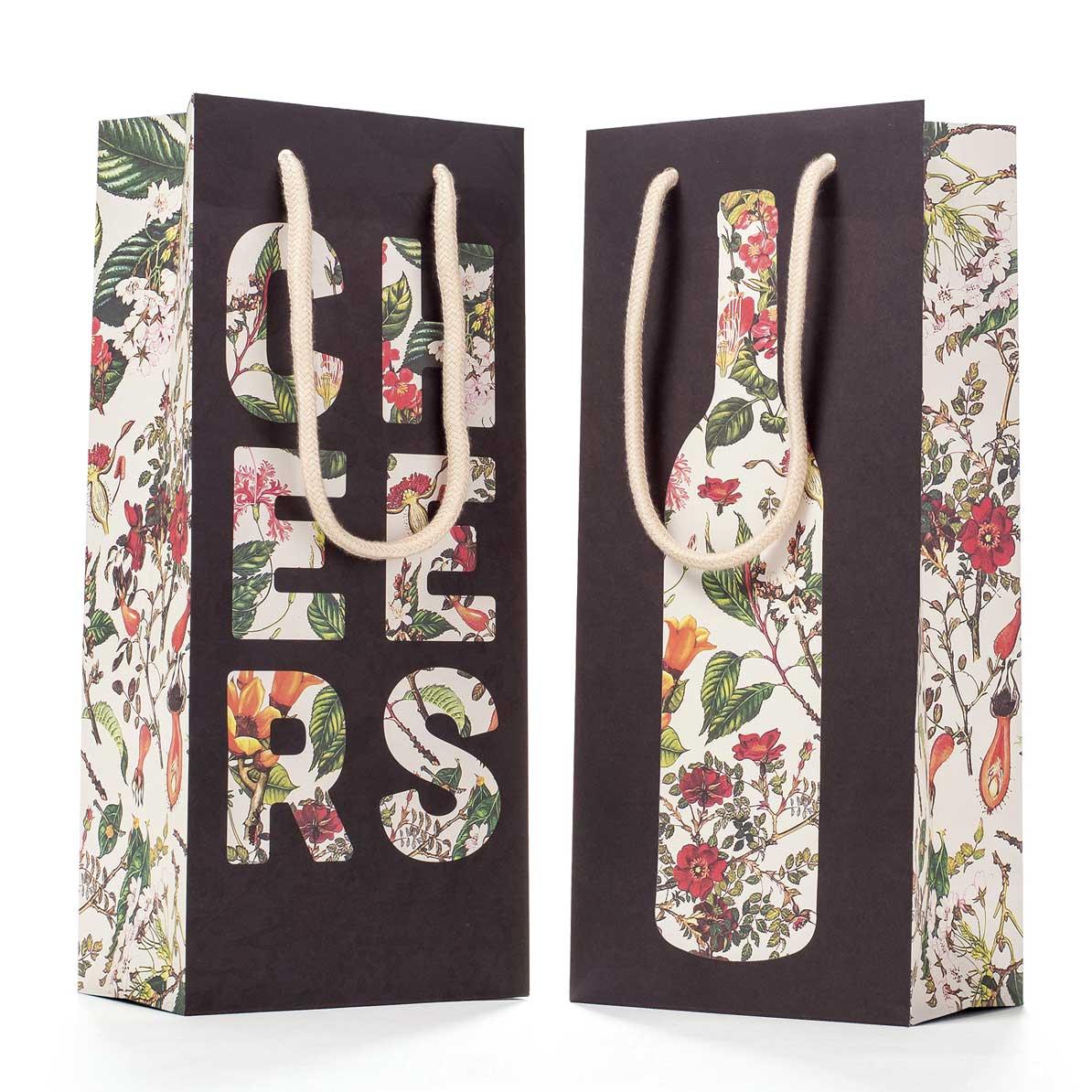 """Geschenktasche """"FLORAL SILHOUETTE WINE BAG"""" von Hester & Cook"""