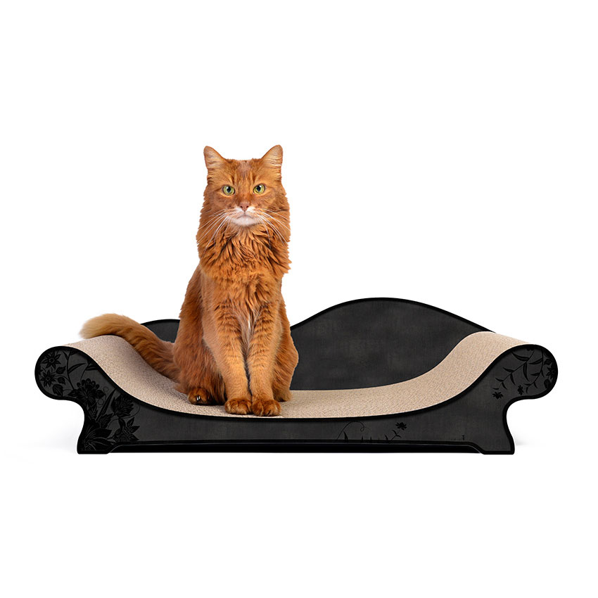Le Canapé Plus - Farbwelt Asiablumen auf schwarz - Kratzmöbel für Katzen