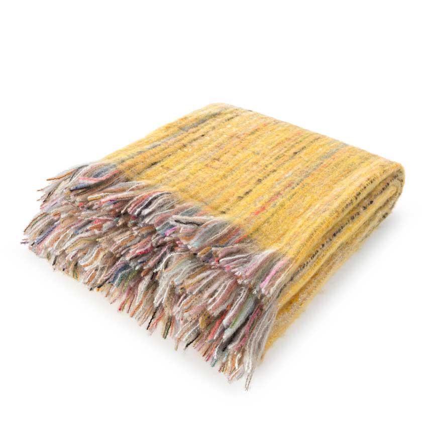 """Plaid / Decke """"Ayana"""" gelb 130 x 190 cm"""